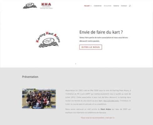 Capture d'écran du site Karting haut anjou après la refont complete réalisé par RD4U