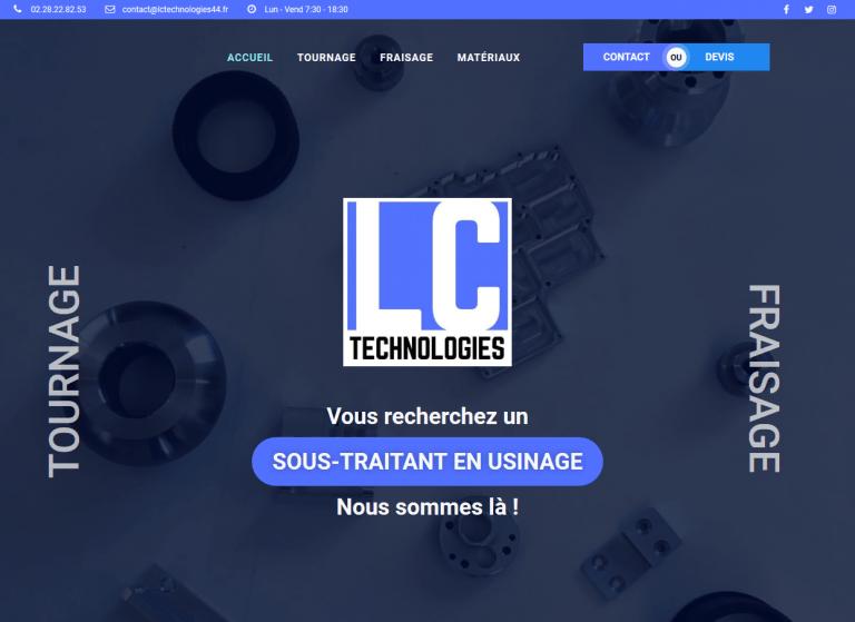 Page d'accueil du site internet lctechnologies44.fr