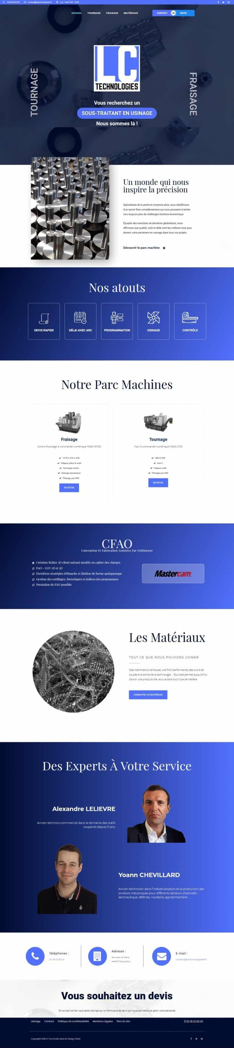 Page d'accueil complète du site internet lctechnologies44.fr en version ordinateur