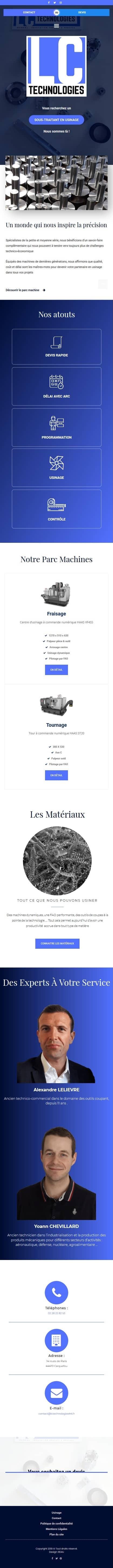 Page d'accueil complète du site internet lctechnologies44.fr en version mobile