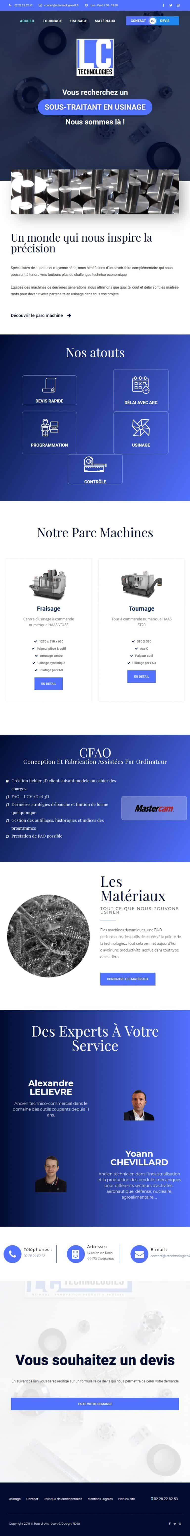 Page d'accueil complète du site internet lctechnologies44.fr en version tablette